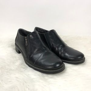 🍁Aerosoles Black Leather Fast Ride Zip-up Shoes